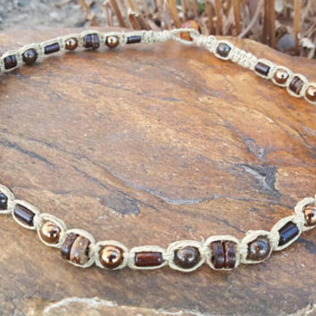 Mens Hemp Necklace, Wood Necklace, Bronzite, Hematite,  Rugged Jewelry, Hemp Necklace, Cork, Mens Jewelry, Wooden Necklace, Guys Jewelry