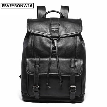 Men Leather Backpacks Fashion High Quality Waterproof  Large Male 14 Inches Laptop Bag Man Black Travel Bag For Boyfriend AW281