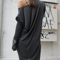 Sexy Casual Top / Grey Soft Fabric / Loose Tunic A01060