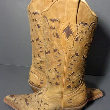 CORRAL C 1961 Brown Black Leather Engraved Floral Cowgirl Boots Size 6