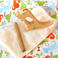 T-Rex Percussion Instrument, Handmade Wooden Musical Instruments, Percussion, Drums, Rhythm Sticks, Music, Montessori , Waldorf