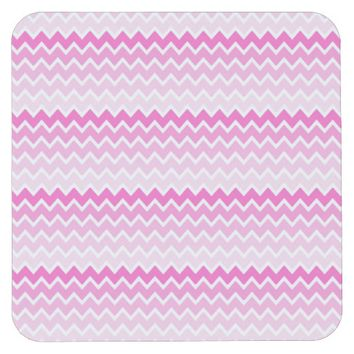 Hot Pink Ombre Chevron Zigzag Pattern Square Paper Coaster