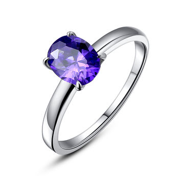 Stainless Steel Oval Purple Cubic Zirconia Solitaire Ring