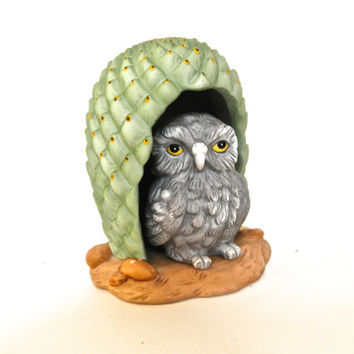 Owl Figurine Woodland Surprises Franklin Porcelain 1984 Woodland Animals Child Room Decor Vintage Inspired Animal Room Decor Baby Nursery