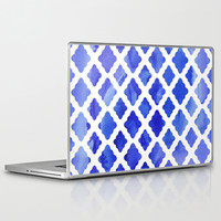Watercolor Diamonds in Cobalt Blue Laptop & iPad Skin by micklyn