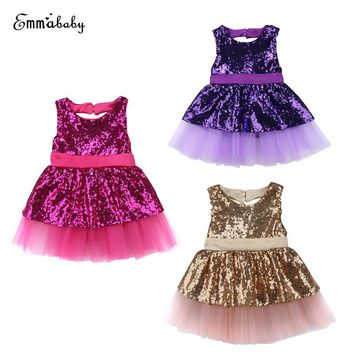 2017 Emmababy Fashion Casual Adorable Sleeveless Princess Kids Toddler Baby Girls Sequins Chiffon  Party Gown Dresses 6M-4T