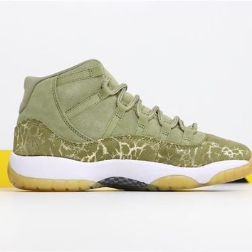"[Free Shipping ]Air Jordan Retro 11""Neutral Olive"" AR0715-200 Basketball Shoes"