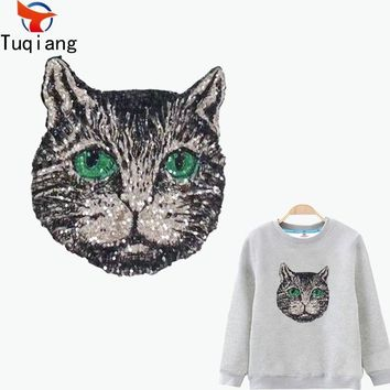 Trendy Personality black cat patch for clothing Diy T-shirt Hoodies and denim jacket thermal transfer Printed A-level Washable 26*23CM AT_94_13