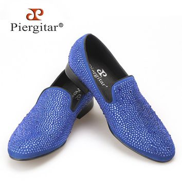 Piergitar New Handmade men suede shoes with full rhinestone men wedding and party loafers