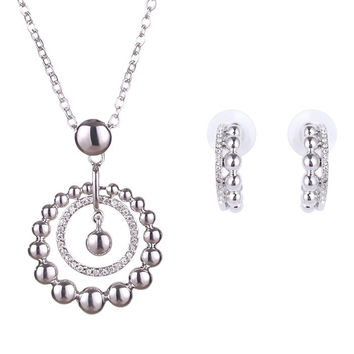 Silver Rhinestone Layered Round Necklace and Earrings