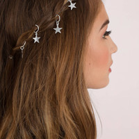 French Kiss Metallic Star Hair Cuffs