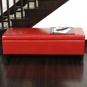 Stratford Red Leather Storage Ottoman Bench