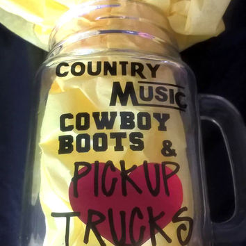 Custom Country Glass  Mason Jar Vinyl Cup  Mug