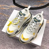 Simple-Balenciaga Men's Embroidery Leisure Sports Shoes YELLOW GREY white Shoes Top Quality 7US  8 US,9   US,10 US,11 US