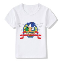 Children's fashion sonic hedgehog cartoon design funny T-shirt boy girl jacket cotton round neck T-shirt casual kids clothes