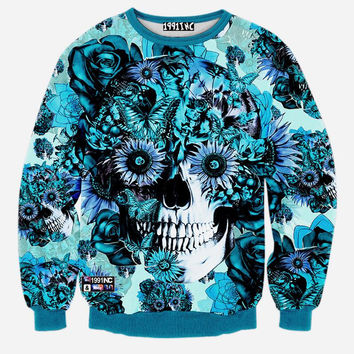Skulls & Roses Crew Neck Sweatshirt Men & Women Flowers Floral Harajuku Style All Over Print Blue Sweater