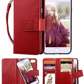 """iPhone 8 Case, iPhone 7 Wallet Case, Crosspace Premium PU Leather Flip Wallet Case 2-in-1 Protective Magnetic Shell with Credit Card Holder and Wrist Lanyard for Apple iPhone 8 4.7""""-Red"""