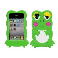 LCE(TM)Cute 3D Frog Silicone Skin Case Cover for Apple iPhone 4 4S Green