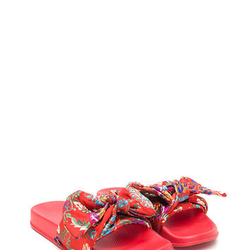 On The Bow Floral Satin Slide Sandals GoJane.com