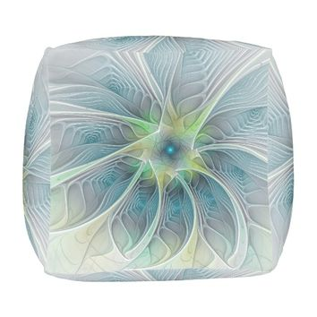 Flourish Fantasy Modern Blue Green Fractal Flower Pouf