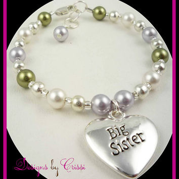 Big Sister Bracelet, Little Sister Pearl Swarovski, Big Sis silver charm, birthstone crystals or choose colors new baby shower gift birthday