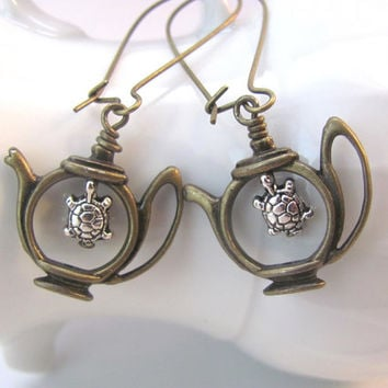 Teapot earrings Turtle Earrings antiqued bronze brass silver