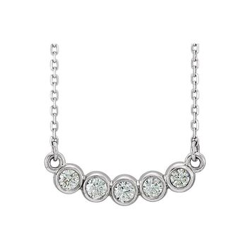 "14K White  1/3 CTW Diamond Bezel Set 16-18"" Necklace"