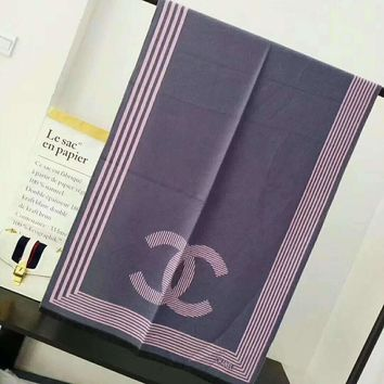 Chanel Stylish Print Cashmere Scarf Scarves Shawl Accessories I-TMWJ-XDH