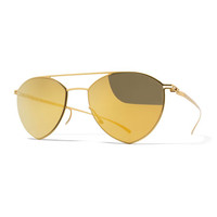 Essential Angular Aviator Sunglasses, Gold