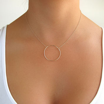 Large Circle Pendant Necklace
