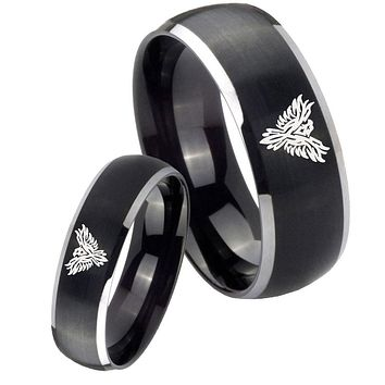 His Her Matte Dome Phoenix Two Tone Tungsten Carbide Wedding Rings Set