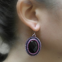 Black Purple Violet Big Dangle Oval Dark Pink Earrings Embroidery Beaded Beadwork Gift Zarcillos Medium Silver Hooks Coctel Formal Bridal
