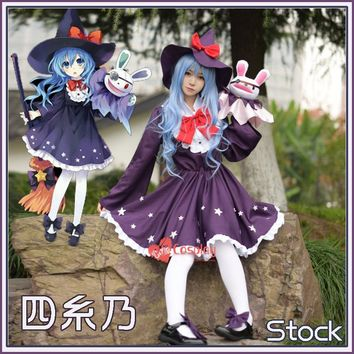 [Stock] Anime DATE A LIVE figure Yoshino Hermit Hat+Dress+Socks Witch cosplay costume New S-XL free shipping 2017