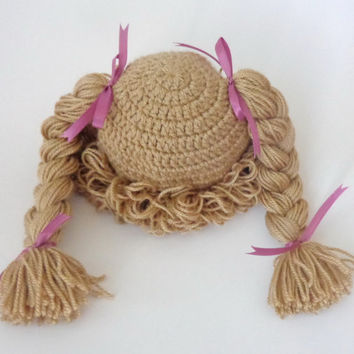 Light Brown Cabbage Patch Kid Hat Inspired Crochet Wig Or Choose your color and size Braid Pigtail Style Newborn to Adult