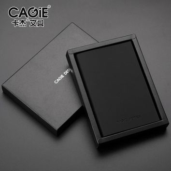 CAGIE a5/a7 Blank/Line Page Notebook Leather Vintage Diary Book Small Pocket Planner Sketchbook School Office Supply Papelaria