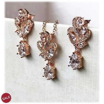 Rose Gold Cubic Zircon Crystal Bridal Jewelry Set