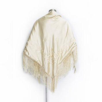 Vintage 1920s Piano Shawl - Cream Silk Embroidered Floral Ecru Fringe Deco Wrap