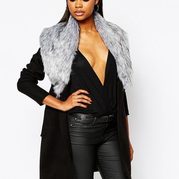Boohoo Shawl Faux Fur Collar Coat