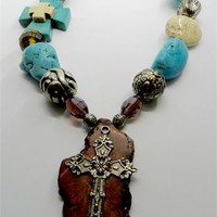 Chunky Turquoise Magnesite Western Cross Necklace