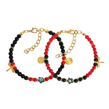 Evil Eye Protection Love Couples Amulets Set Royal Red Black Dragonfly Star Powers Bracelets