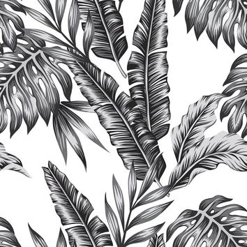Retro Palms | Black Wallpaper | WallsNeedLove