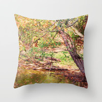 Autumn At Hickory Ridge Pond Throw Pillow by Theresa Campbell D'August Art