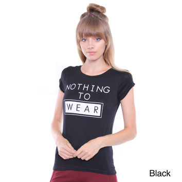 Junior's Nothing To Wear Black Tee TSP39A