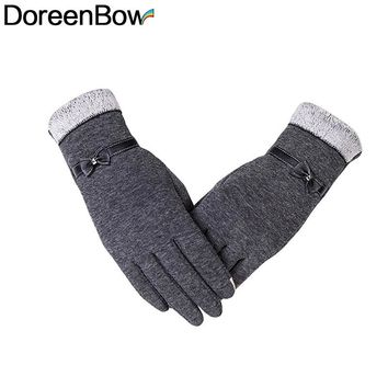 DoreenBow Hot Fashion Winter Warm Gloves Women Girls Bow Tie Pattern Touch Screen Mittens Glove Gray Coffee Colors, 1 Pair