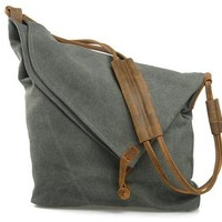 Jeansian Men's Womens Unisex Canvas Messager School Hang Bag DarkGray BG054