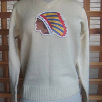 40s 50s Pullover School Sweater INDIAN HEAD PATCH  Pattern Mens Or Ladies As Is