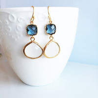 Sapphire Blue Earrings, Navy Blue and White Wedding, Bridal Jewelry, Birthstone, Gold Filled Dangle Earrings, Prom, Bridesmaids Gift,