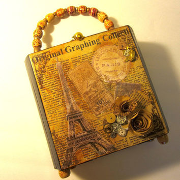 Upcycled Cigar Box Purse - Vintage Steampunk Inspired with Watch Parts and Vintage Paris Images over Printed paper