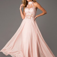 A-Line/Princess High Neck Sweep Train Chiffon Prom Dress With Appliques Lace