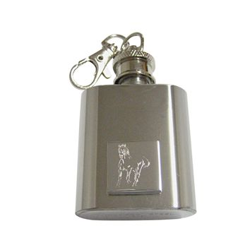 Silver Toned Etched Galloping Horse 1 Oz. Stainless Steel Key Chain Flask